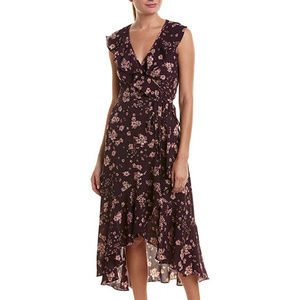 Max Studio Purple Floral Ruffle Wrap Midi Dress